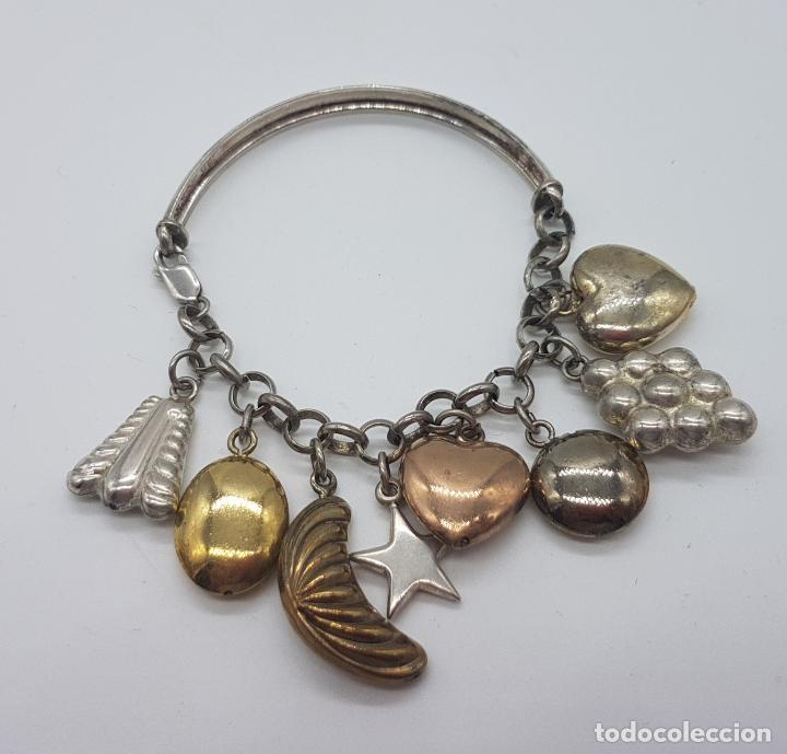 Joyeria: Exclusiva pulsera antigua en plata de ley contrastada con abalorios bañados en oro amarillo y rojo. - Foto 7 - 148837946