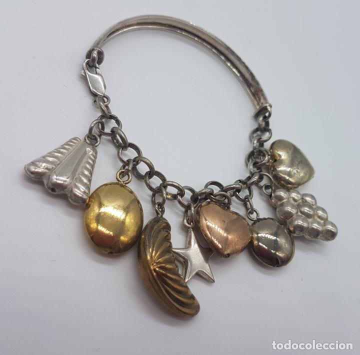 Joyeria: Exclusiva pulsera antigua en plata de ley contrastada con abalorios bañados en oro amarillo y rojo. - Foto 8 - 148837946