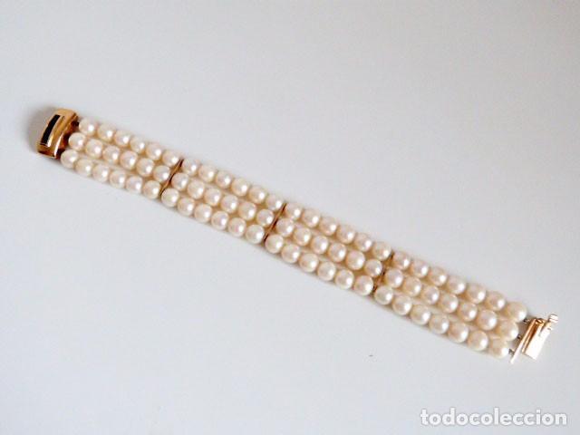 Joyeria: Pulsera Vintage tres hilos de perlas ,oro y zafiros - Foto 2 - 89654956