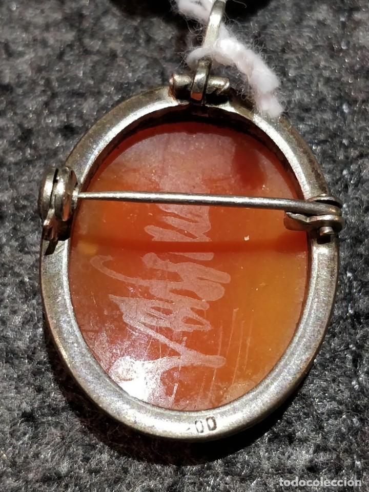 Joyeria: Antiguo colgante camafeo de plata y concha - Foto 2 - 149314018