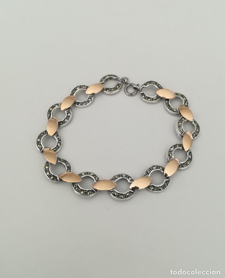Joyeria: pulsera de plata con inversiones en oro y marcasita - Foto 3 - 149968686