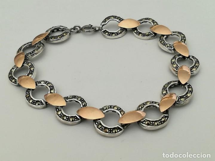 Joyeria: pulsera de plata con inversiones en oro y marcasita - Foto 5 - 149968686