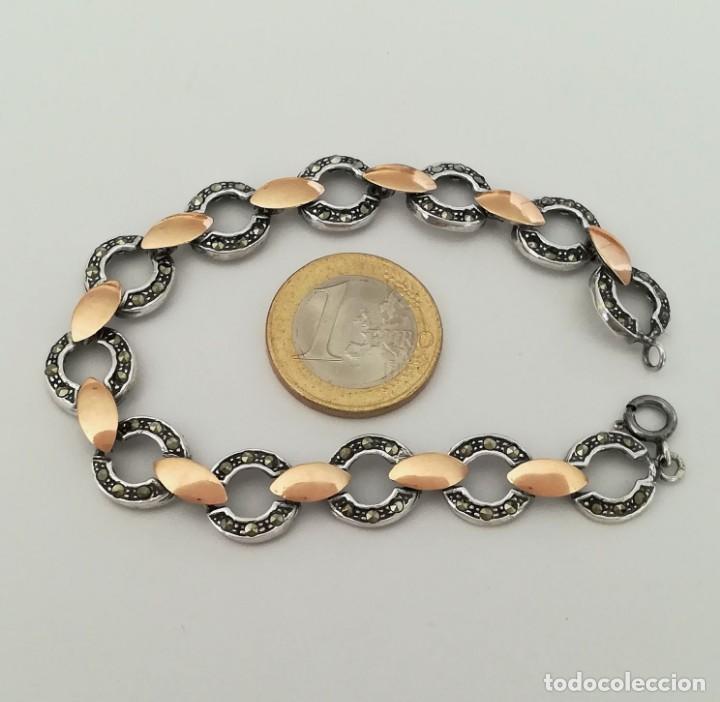 Joyeria: pulsera de plata con inversiones en oro y marcasita - Foto 6 - 149968686