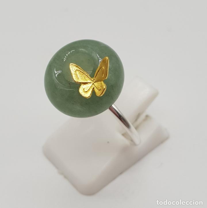 Joyeria: Original anillo de estilo minimalista en plata de ley, oro de 18k, mariposa en relieve y jade . - Foto 2 - 150545922