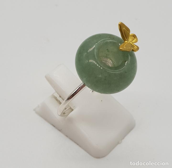 Joyeria: Original anillo de estilo minimalista en plata de ley, oro de 18k, mariposa en relieve y jade . - Foto 4 - 150545922