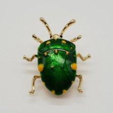 Joyeria - Original broche de estilo art decó en forma de insecto realista, acabado en oro y esmaltes al fuego - 157724561