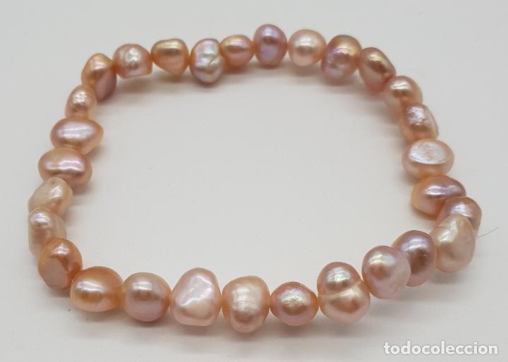 Joyeria: Pulsera de perlas cultivadas de agua dulce auténticas en tonos pastel . - Foto 2 - 151136538