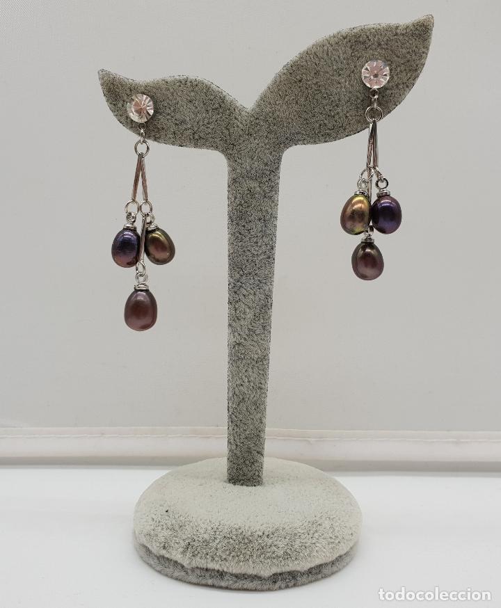 Joyeria: Maravillosos pendientes articulados con acabado en plata de ley y perlas de agua dulce tonos marron - Foto 3 - 151545758