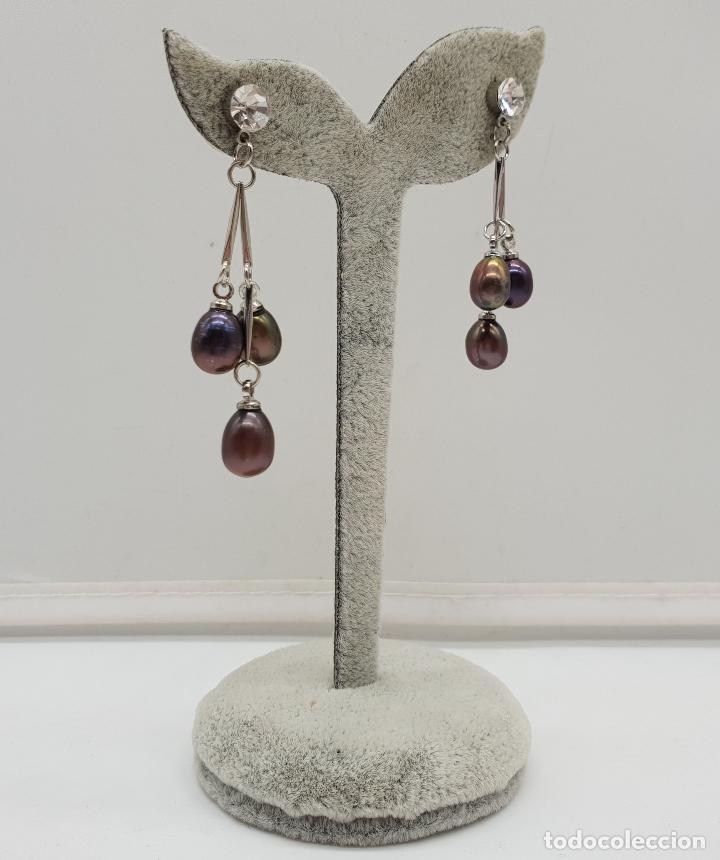 Joyeria: Maravillosos pendientes articulados con acabado en plata de ley y perlas de agua dulce tonos marron - Foto 4 - 151545758