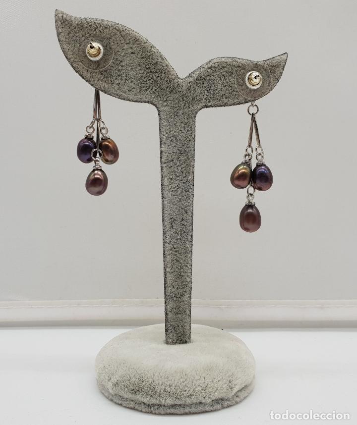 Joyeria: Maravillosos pendientes articulados con acabado en plata de ley y perlas de agua dulce tonos marron - Foto 5 - 151545758