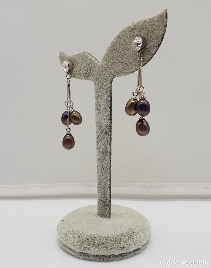 Joyeria: Maravillosos pendientes articulados con acabado en plata de ley y perlas de agua dulce tonos marron - Foto 2 - 151545758