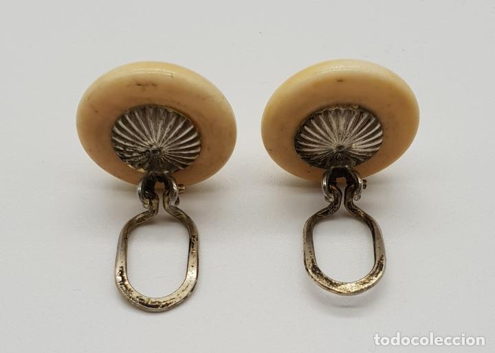 Joyeria: Pendientes antiguos art decó, tipo boton en marfil o símil y plata de ley contrastada . - Foto 2 - 151547634