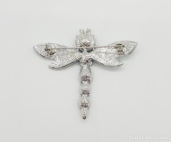 Joyeria: Original broche de estilo art decó con acabado en plata, esmaltes y perdería de cristal austriaco . - Foto 5 - 151555902