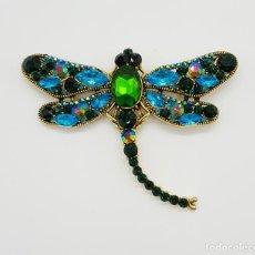 Jewelry - Broche de estilo modernista de libelula con acabado en oro , y pedrería de cristal austriaco . - 151556202
