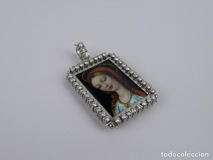 Joyeria: Espectacular colgante Art Decó oro blanco 18k-41 diamantes 2 cts - miniatura esmaltada-Mediados S.XX - Foto 7 - 152160574