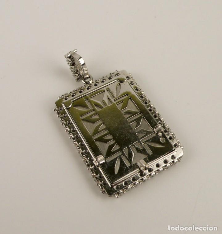 Joyeria: Espectacular colgante Art Decó oro blanco 18k-41 diamantes 2 cts - miniatura esmaltada-Mediados S.XX - Foto 14 - 152160574