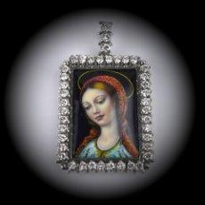 Joyeria: ESPECTACULAR COLGANTE ART DECÓ ORO BLANCO 18K-41 DIAMANTES 2 CTS - MINIATURA ESMALTADA-MEDIADOS S.XX. Lote 152160574
