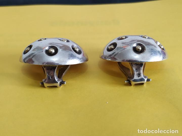 Joyeria: Raros pendientes en plata de la firma Puig Doria. Barcelona. Silver earrings. Pieza diseño. - Foto 4 - 152351134