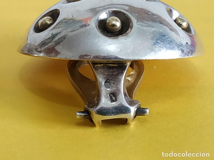 Joyeria: Raros pendientes en plata de la firma Puig Doria. Barcelona. Silver earrings. Pieza diseño. - Foto 5 - 152351134