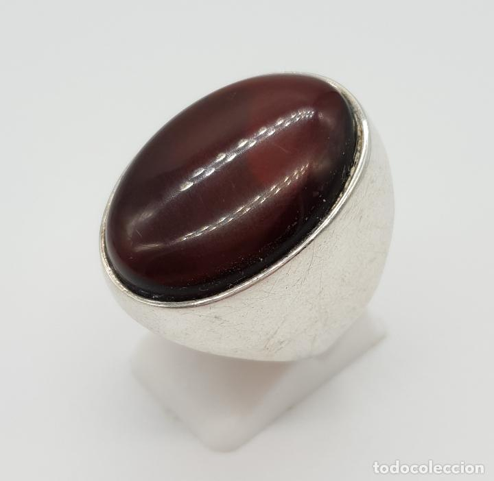Joyeria: Gran anillo vintage en plata ley contrastada con cabujón de color ámabar tono coñac . - Foto 2 - 152625298