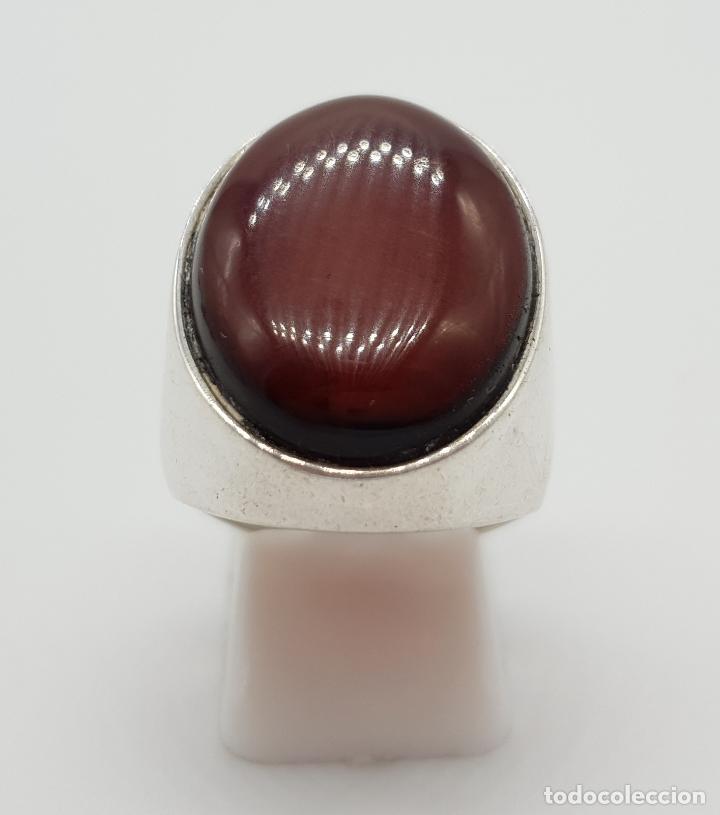 Joyeria: Gran anillo vintage en plata ley contrastada con cabujón de color ámabar tono coñac . - Foto 3 - 152625298