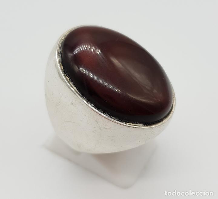 Joyeria: Gran anillo vintage en plata ley contrastada con cabujón de color ámabar tono coñac . - Foto 4 - 152625298