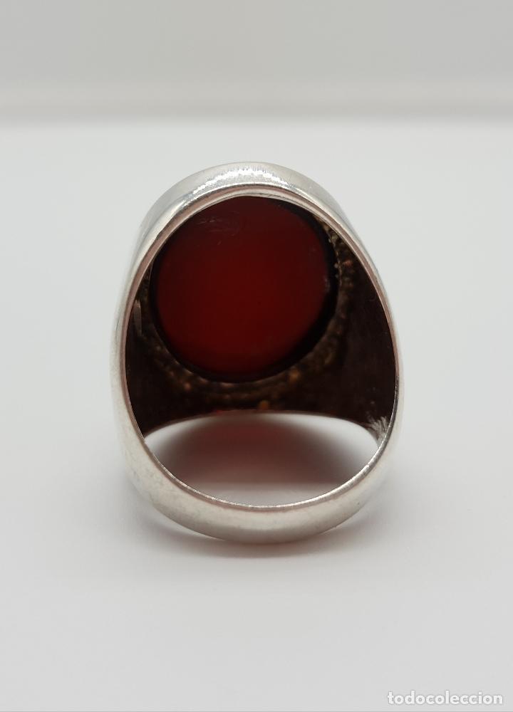 Joyeria: Gran anillo vintage en plata ley contrastada con cabujón de color ámabar tono coñac . - Foto 5 - 152625298