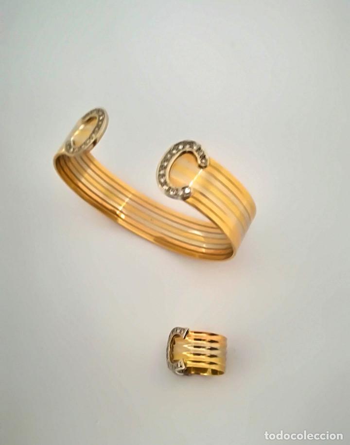 Joyeria: Vintage Pulsera y Anillo Oro 18k Blanco, Amarillo y Diamantes - Foto 3 - 152629078