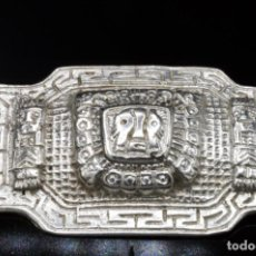 Joyeria: MEXICO / PLATA 29 GRAMOS - BROCHE ENORME DE PESADA PLATA MACIZA VINTAGE - AZTECA PUNZONES. Lote 152657362