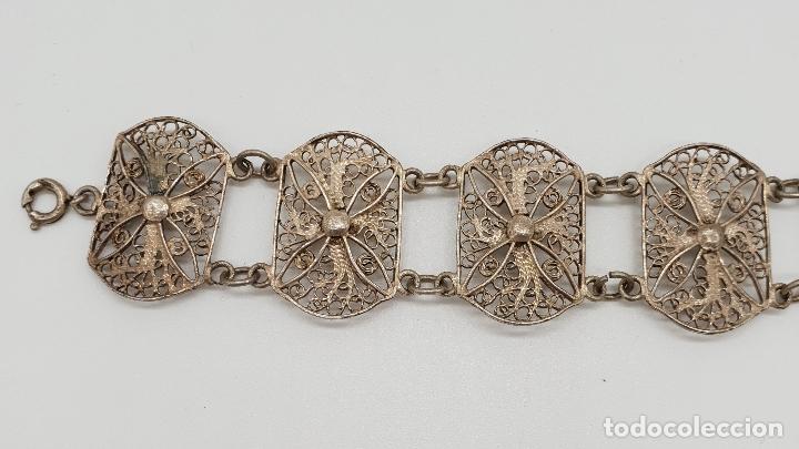 Joyeria: Brazalete antiguo en eslabones de bella filigrana de plata . - Foto 2 - 152679590