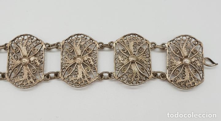 Joyeria: Brazalete antiguo en eslabones de bella filigrana de plata . - Foto 3 - 152679590