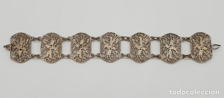 Joyeria: Brazalete antiguo en eslabones de bella filigrana de plata . - Foto 5 - 152679590