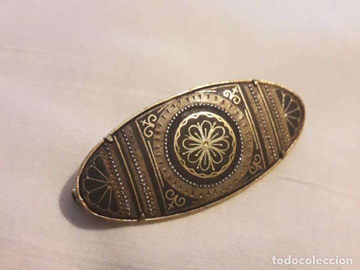 Joyeria: Precioso antiguo broche de damasquinado oro de Toledo - Foto 8 - 152970914
