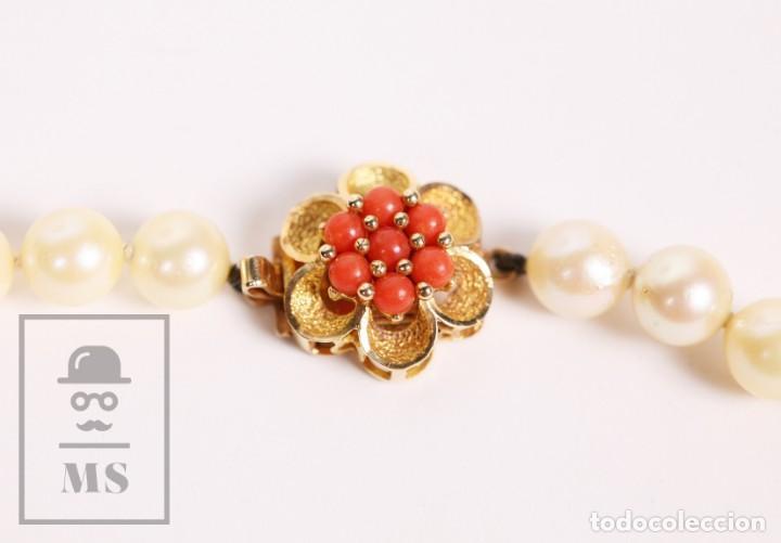 Joyeria: Precioso Collar de Perlas Cultivadas con Cierre de Oro y Cuentas de Coral Rojo - Longitud 64 cm - Foto 6 - 153193802