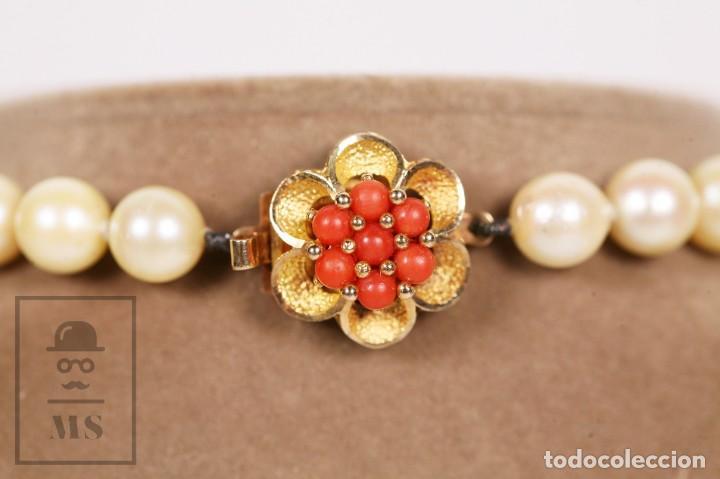 Joyeria: Precioso Collar de Perlas Cultivadas con Cierre de Oro y Cuentas de Coral Rojo - Longitud 64 cm - Foto 8 - 153193802