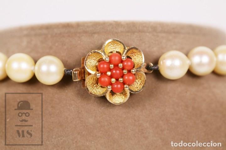 Joyeria: Precioso Collar de Perlas Cultivadas con Cierre de Oro y Cuentas de Coral Rojo - Longitud 64 cm - Foto 9 - 153193802