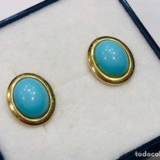 Joyeria - Pendientes Oro Amarillo de 18K y Turquesa - 153855394