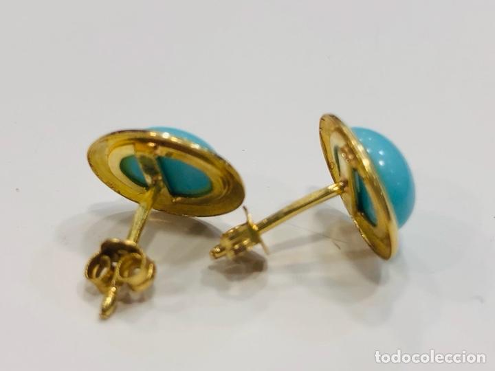 Joyeria: Pendientes Oro Amarillo de 18K y Turquesa - Foto 6 - 153855394