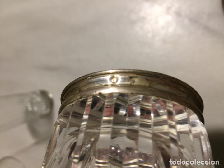 Joyeria: Antiguos 3 vaso / vasos de tubo en cristal tallado a mano y pié de plata de ley años 60 - Foto 6 - 154048138
