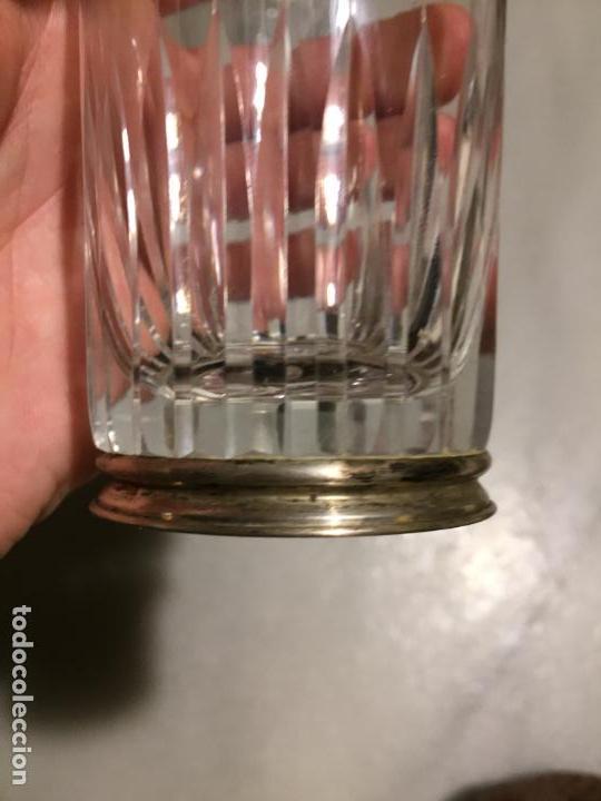 Joyeria: Antiguos 3 vaso / vasos de tubo en cristal tallado a mano y pié de plata de ley años 60 - Foto 7 - 154048138