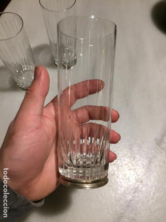 Joyeria: Antiguos 3 vaso / vasos de tubo en cristal tallado a mano y pié de plata de ley años 60 - Foto 8 - 154048138