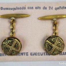 Joyeria: GEMELOS ANTIGUOS DAMASQUINADOS DE ORO DE TOLEDO. Lote 154121758