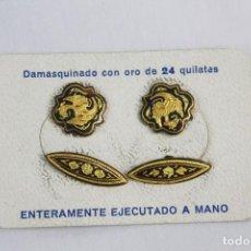 Joyeria: GEMELOS ANTIGUOS DAMASQUINADOS DE ORO DE TOLEDO EN CAJA SIN ESTRENAR. Lote 154122174