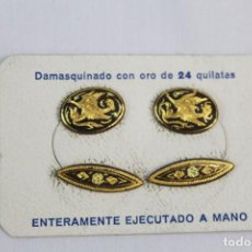 Joyeria: GEMELOS ANTIGUOS DAMASQUINADOS DE ORO DE TOLEDO EN CAJA SIN ESTRENAR. Lote 154122642