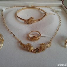 Joyeria - conjunto cisnes completo: gargantilla, pendientes, anillo y pulsera, oro 18kl - 154378606