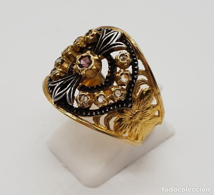 Joyeria: Magnífico anillo antiguo de estilo imperio en plata de ley, oro de 18k, zafiros blancos y amatista . - Foto 2 - 154439938