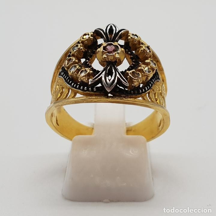Joyeria: Magnífico anillo antiguo de estilo imperio en plata de ley, oro de 18k, zafiros blancos y amatista . - Foto 3 - 154439938