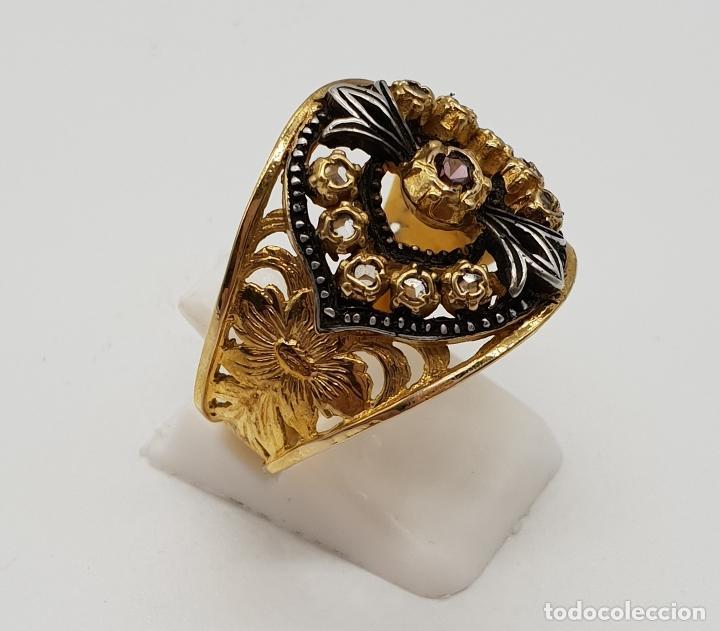 Joyeria: Magnífico anillo antiguo de estilo imperio en plata de ley, oro de 18k, zafiros blancos y amatista . - Foto 4 - 154439938