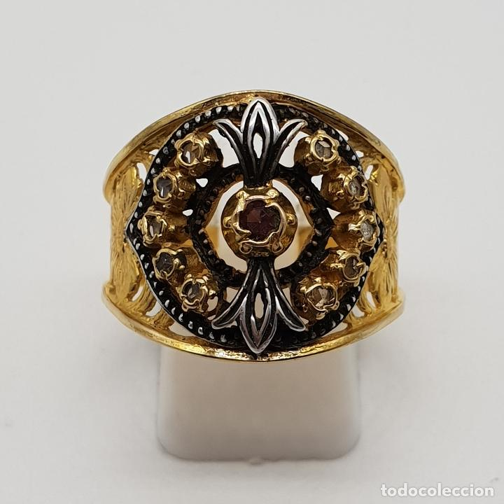 Joyeria: Magnífico anillo antiguo de estilo imperio en plata de ley, oro de 18k, zafiros blancos y amatista . - Foto 5 - 154439938
