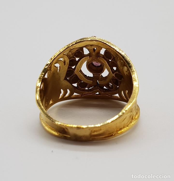 Joyeria: Magnífico anillo antiguo de estilo imperio en plata de ley, oro de 18k, zafiros blancos y amatista . - Foto 6 - 154439938